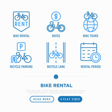 Bike Rental Thin Line Icons Se...