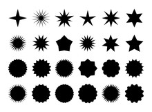 Star Burst Sticker Set. Black ...