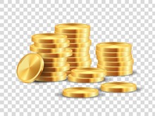 Golden Coin Stack. Realistic Gold Dollar Coins Game Template For Win Lots In Casino. Vector 3D Cash Money Isolated On Transparent Background, Symbolizing Profit In Business
