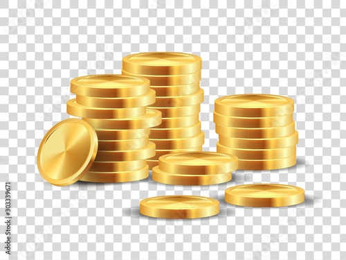 Fototapeta Golden coin stack. Realistic gold dollar coins game template for win lots in casino. Vector 3D cash money isolated on transparent background, symbolizing profit in business obraz
