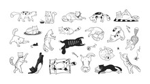 Hand Drawn Cats. Funny And Cut...