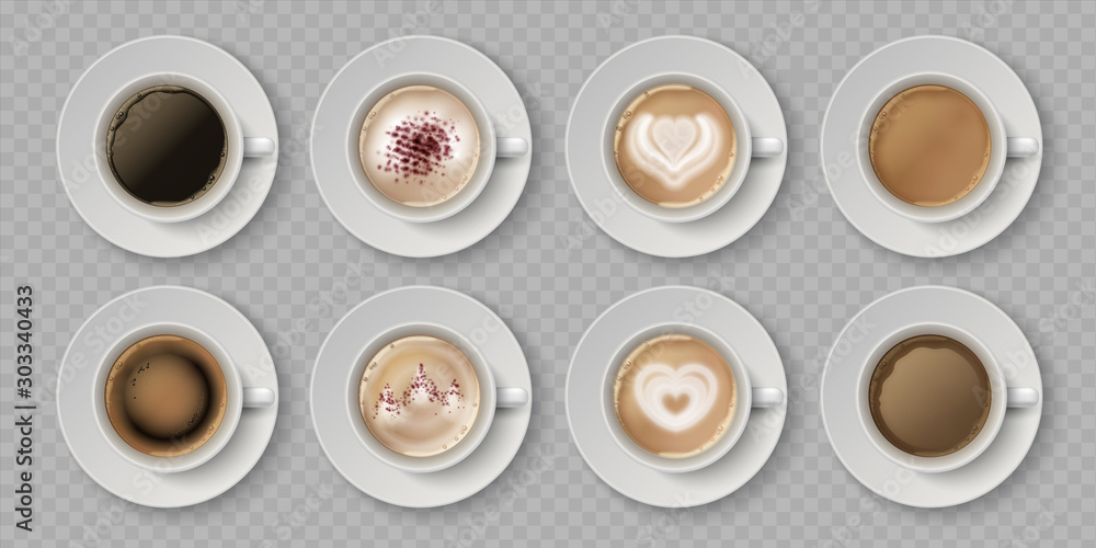 Fototapeta Realistic coffee cup. Top view of milk creams in cup with espresso cappuccino or latte, 3d isolated cafe mugs. Vector illustration coffee drink with image on foam in white cups set on transparent - obraz na płótnie
