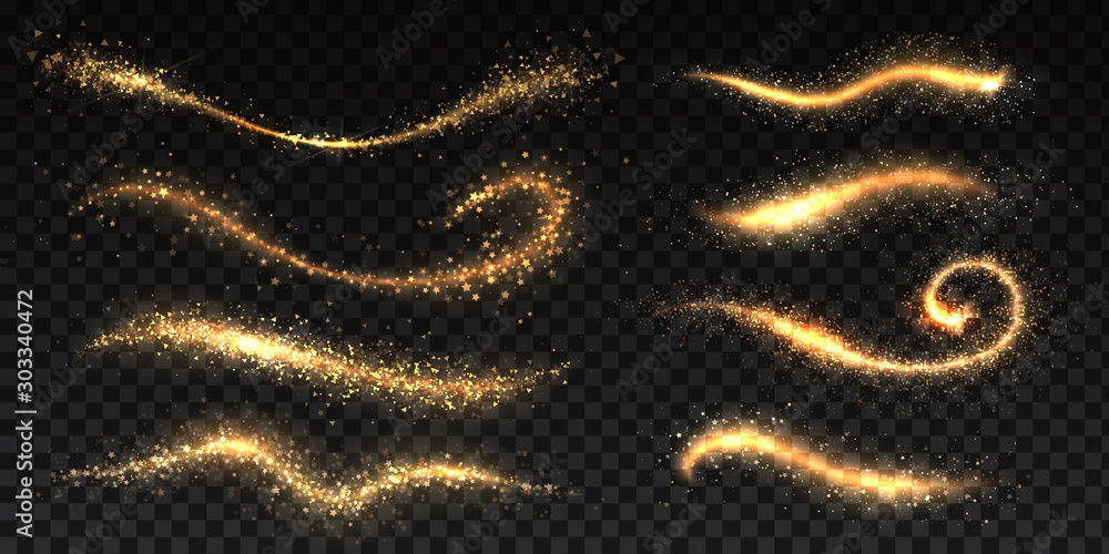 Fototapety, obrazy: Sparkle stardust. Golden glittering dust brush templates, shining star or comet trails, Christmas shimmer texture. Vector image glowing effect brightness wave fairy glamour magics illustration