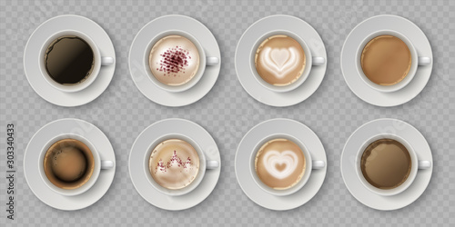 Realistic coffee cup. Top view of milk creams in cup with espresso cappuccino or latte, 3d isolated cafe mugs. Vector illustration coffee drink with image on foam in white cups set on transparent