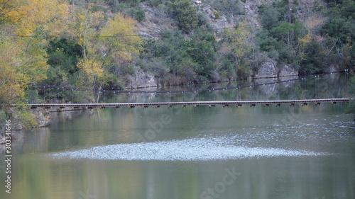 puente de madera con barandillas metálicas sobre el rio segre, camarasa, lerida, españa, europa