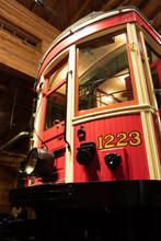 Vintage Restored Tram Car In The Museum