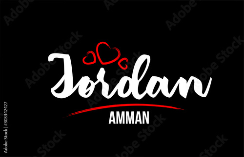 Carta da parati Jordan country on black background with red love heart and its capital Amman