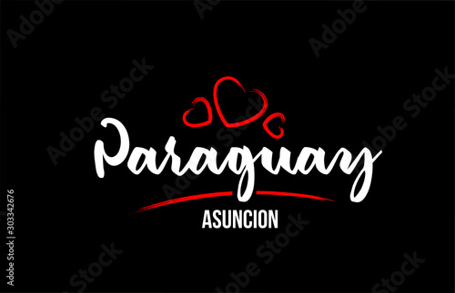 Photo Paraguay country on black background with red love heart and its capital Asuncio