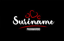 Suriname Country On Black Back...