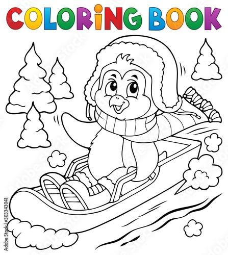 Foto auf Gartenposter Für Kinder Coloring book penguin on bobsleigh 1