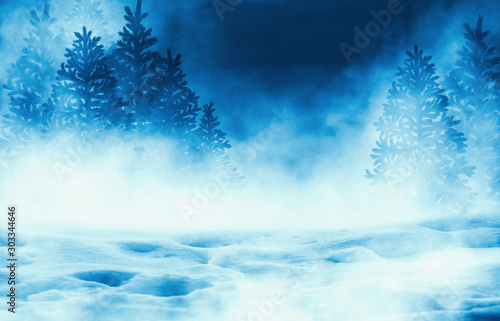 obraz PCV Dark winter forest background at night. Snow, fog, moonlight. Neon figure in the center