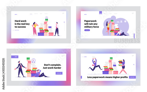 Fototapety, obrazy: Busy Office People Company Employees Overload at Work Website Landing Page Set. Business People Working with Heap of Paper Documents. Managers on Job Web Page Banner. Cartoon Flat Vector Illustration