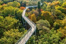 A Beautiful View Of The Treetop Path, Located In Beelitz, A Small City Near Berlin In Brandemburg, Germany. Very Colorful, Sunny Autumn Day With Lush Foliage.