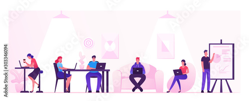 People Working Relaxing Drinking Coffee and Messaging with Gadgets in Coworking Area or Creative Office Canvas Print