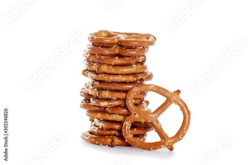 Obraz na plátně closeup stack of salted pretzels
