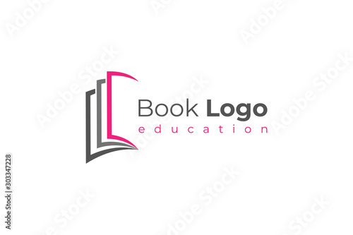 Fotografía  Open Book Logo Education Knowledge Symbol Paper Icon Concept Design Template Element isolated on white background