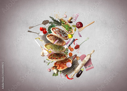 Poster de jardin Akt Pizza with different tastes with vegetables, cooking
