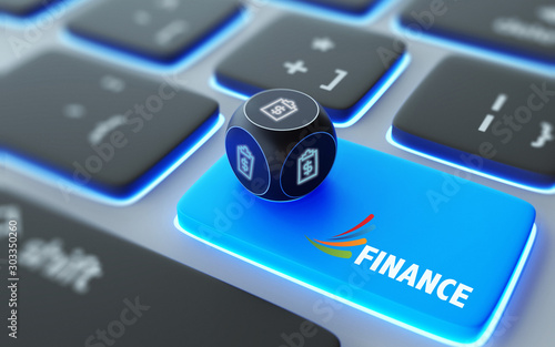 Fototapeta  Dollar Sign and Ring Binder Symbol On A Dice Over Laptop Computer Keyboard with