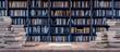 Leinwanddruck Bild - Open Book on Bookshelf in the library with old books 3d render 3d illustration