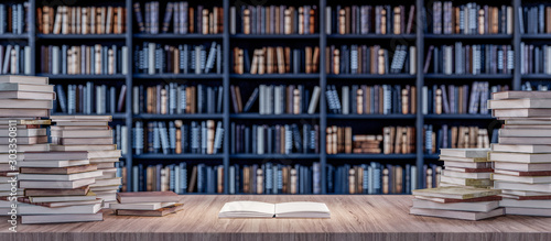 Cuadros en Lienzo Open Book on Bookshelf in the library with old books 3d render 3d illustration