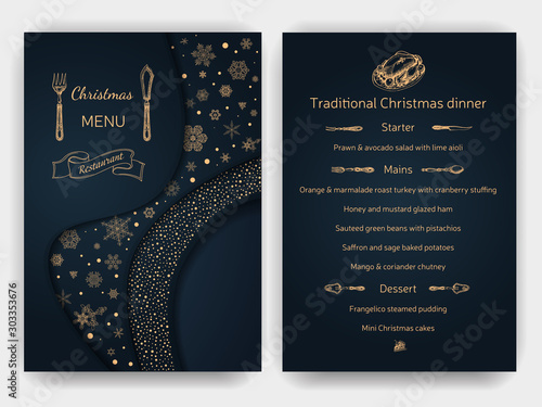 Vector illustration sketch - Greeting cards and holiday design. Vintage Xmas Menu. Christmas holiday invitation. Ornament with snowflakes. - 303353676
