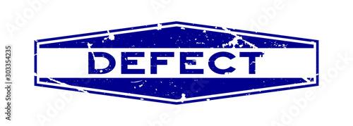 Vászonkép Grunge blue defect word hexagon rubber seal stamp on white background