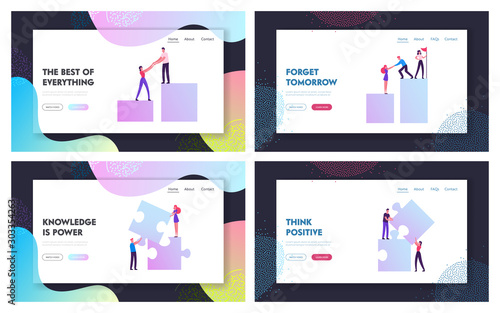 Fototapety, obrazy: Business People Teamwork Project Website Landing Page Set. Businessmen Pull Teammates Businesswomen to Graph Peak Creative Team Set Up Puzzle Elements Web Page Banner. Cartoon Flat Vector Illustration
