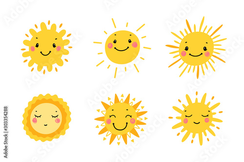 Obraz Cute Sun Icon Vector Set. Hand Drawn Doodle Different Funny Suns  - fototapety do salonu