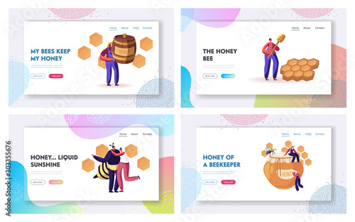 Photo Beekeeping Process and Honey Producing Industry Website Landing Page Set