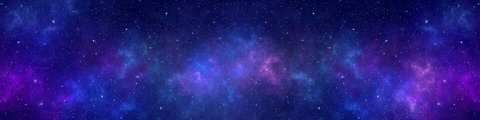 Nebula and stars in night sky web banner. Space background.