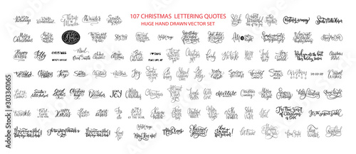 Obraz Christmas Hand Drawn Ink Lettering Vector Greeting Quotes. Merry Christmas and Happy New Year Big Textured Calligraphy Set. Xmas Typography Collection. - fototapety do salonu