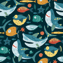 Seamless Vector Pattern With Cute Cartoon Funny Shark Fish In A Scandinavian Flat Style. Color Kid Ornate Underwater Fabric Graphic Illustration. Baby Shark Doo Doo Doo.