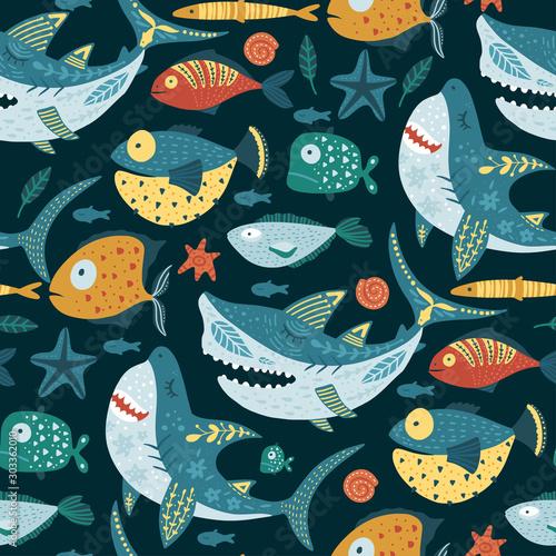 plakat Seamless vector pattern with cute cartoon funny shark fish in a scandinavian flat style. Color kid ornate underwater fabric graphic illustration. Baby shark Doo Doo Doo.