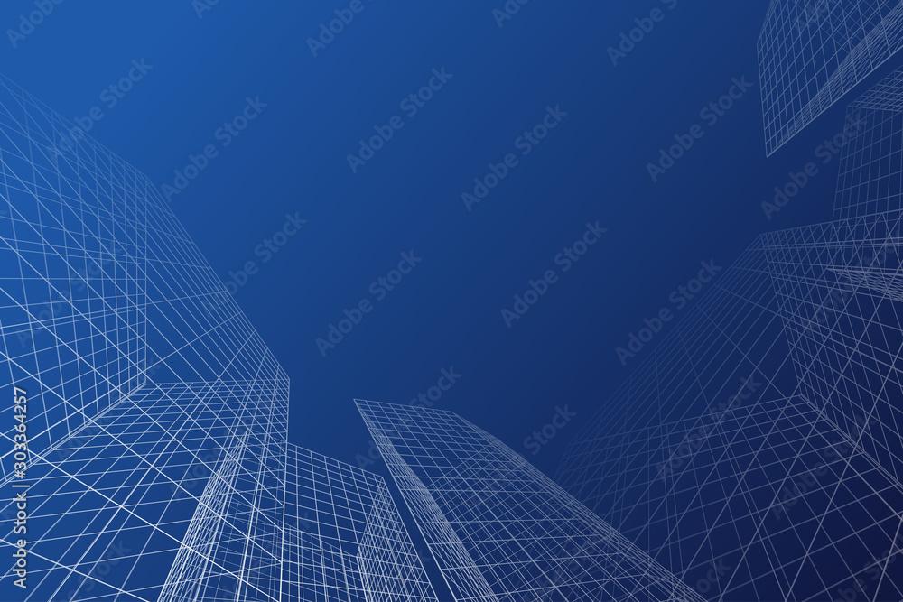 Fototapeta architecture building linear 3d illustration