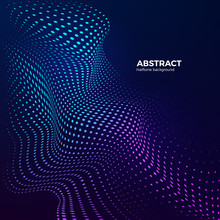 Halftone Design Element Motion Effect For Music Design Or Sport. Abstract Colorful Halftone Background With Dynamic Waves. Warp Dots Surface. Vector Illustration In Blue And Purple Colors