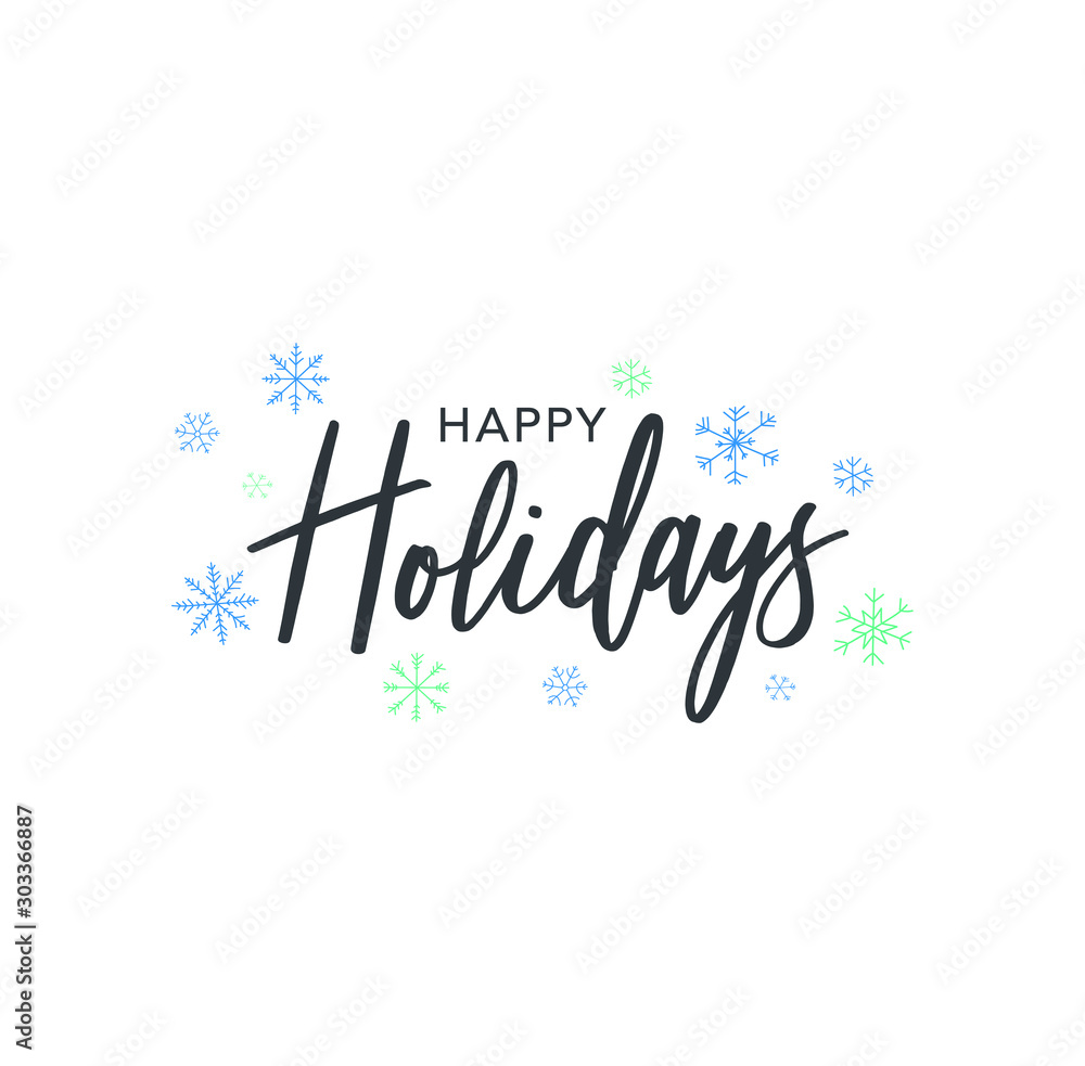 Fototapety, obrazy: Happy Holidays Calligraphy Vector Text With Hand Drawn Blue Winter Snowflakes Over White Background
