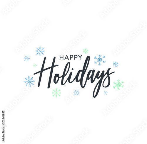 Happy Holidays Calligraphy Vector Text With Hand Drawn Blue Winter Snowflakes Over White Background - 303366887