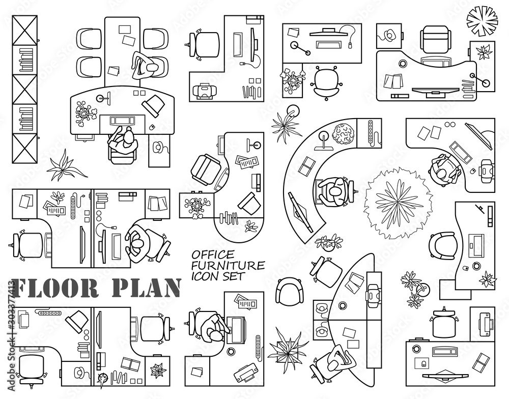 Fototapety, obrazy: Floor plan of office or cabinet in top view. Desks (working table), chairs, computers, reception and other modular system of office equipment. Furniture icons in view from above. Vector