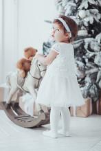 Caucasian Little Girl In White...