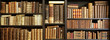 Leinwandbild Motiv old books on wooden shelf