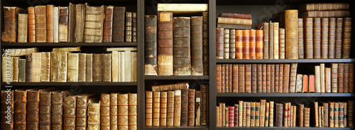 Fotomural  old books on wooden shelf
