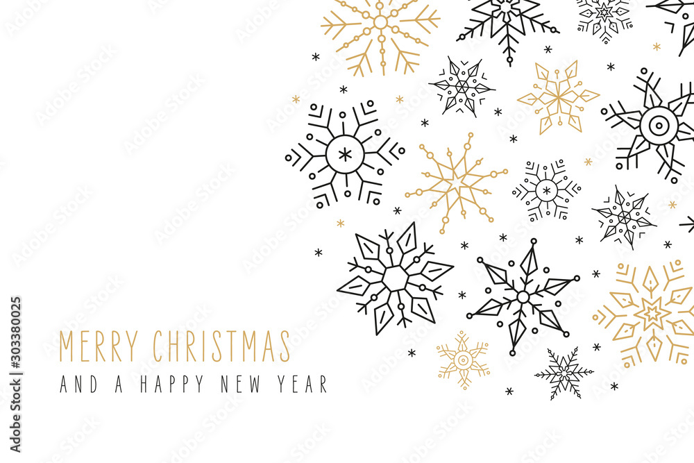 Fototapeta Christmas snowflakes elements ornaments greeting card on isolated white background