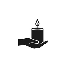Hand With Spa Candle Silhouette Style Icon