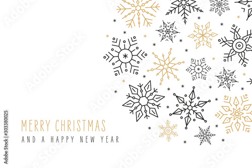 Obraz Christmas snowflakes elements ornaments greeting card on isolated white background - fototapety do salonu