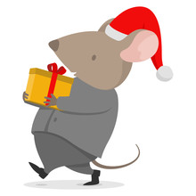 2020 New Year Rat Present Gift For Business Company Carrying Cute Present Box For Christmas In Space Grey Suite Costume And White Shirt. Mouse With Big Pink Ears Celebrating Company Party