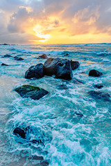 Fototapeta Morze sunset at the North Shore of Oahu, Hawaii