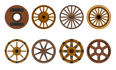 Wooden wheel vector cartoon set icon.Vector illustration cart of wheel. Isolated cartoon icon cartwheel for wagon on white background .