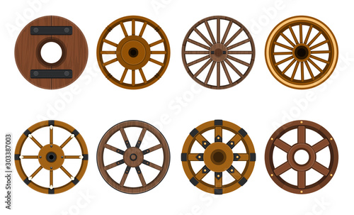 Cuadros en Lienzo  Wooden wheel vector cartoon set icon