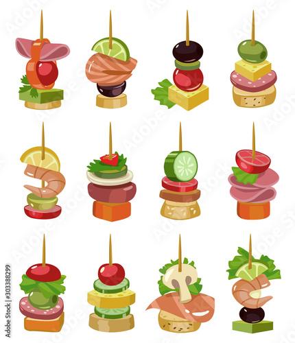 Fotografia Canape of appetizer cartoon vector illustration on white background