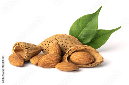 Fotografía  Almond nut in shell isolated on white background close up